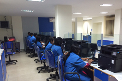 Operators all set to assist the public at the Model NRC Seva Kendra in Noonmati, Guwahati during the kick off day of NRC Updation process across Assam on 27th Feb, 2015