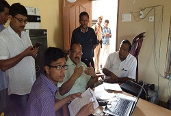 DRCR Barpeta Shri Thaneswar Malakar  on a visit to various NSKs during a field inspection visit to check progress of e-Form 3 on 13 Oct , 2016.