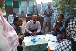 District Resource Person Hailakandi on quality check inspection of field verification results at Lala Circle - Jan, 2016.