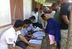 Re-verification of application forms organised at Bilaipur and Dhalcherra under Lala Circle in Hailakandi before final recording of FV results-May 3, 2015.