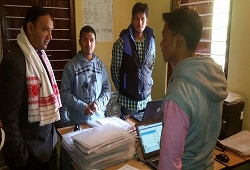 DC Sivasagar on inspection of field verification visits and office verification progress at NSKs- 26th Dec, 2015.