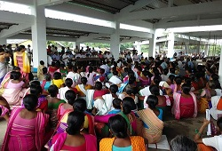 A large number of women turn up to attend the demonstration session on Filling-up of Application Form organised under Dudhnoi Circle in Goalpara on 16th June, 2015.