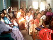 Women folks listen in rapt attention during a Public Awareness Meeting on NRC Updation Process