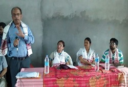 District Resource Person Nagaon addresses the public at Pashim Xalpara village in Nagaon district held on May 15th, 2015.