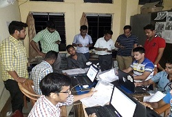 Data operators working at night shifts on various e-processes to expedite verification works at Sadar Circle and Samaguri Circle in Nagaon, June 2016.