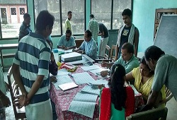 District NRC Team of Nagaon receiving Application Forms from jail inmates.