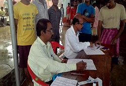 Jail inmates submitting their NRC Application Forms in Sivasagar.