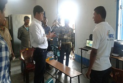 A government official seen addressing the NSK staff at Kushtoli Gaon Panchayat office in Laharighat, Morigaon