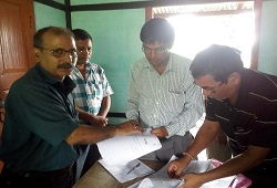 First Applicant of NRC Updation, Shri Arup Talukdar at 14 Pub Banbhag GP office, Ghograpar Circle in Nalbari on 15th June, 2015.