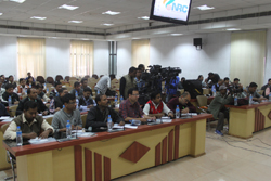 Journalists from electronic and print media during a press meet on NRC held at Office of the State Coordinator, NRC, Assam