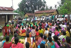 Villagers come out in strength to participate in an awareness meeting organised recently at Dudhnoi Circle of Goalpara district.