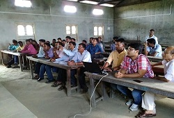 A training session on Distribution and Receipt of Application Form under way at riverine area of Nagarbera Revenue Circle in Kamrup held recently.