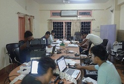 System integrators at work until late night in Udalguri on 15th August, 2015.