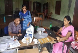 A still from the ongoing phase - processing of Application Forms in Thelamora GP in Sonitpur District on 16th August, 2015.